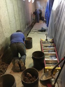 Basement waterproofing system installation